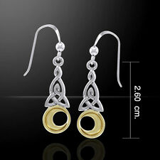 Celtic Knotwork Trinity Crescent Moon Silver and Gold Earrings by Peter Stone