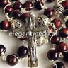 Bali 925 Sterling Silver Beads 8MM Tiger Eye Rosary Cross catholic necklace GIFT