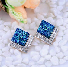 SPARKLING DRUZY CABOCHON CRYSTAL PEACOCK BLUE TRIANGLE EARRINGS 18MM