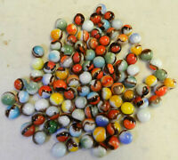 #11644m Vintage Group of 100 Mostly Vitro Agate Blackie Marbles .59  to .64 In