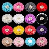 """50pcs 4"""" Chiffon Flower+Rhinestone Pearl Button For Hair Accessories"""