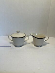 LENOX BLACK ROYALE CREAMER & COVERED SUGAR BOWL BLACK BAND PLATINUM TRIM