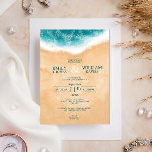 10 Wedding Invitations Day/Evening Watercolour Beach Summer Tropical Theme