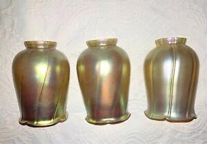 THREE (3) ANTIQUE AURENE IRRIDESCENT LAMP SHADE Quezal Steuben
