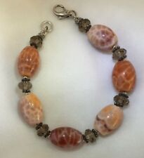 Fire Agate, Smoky Quartz, Sterling Silver Bracelet