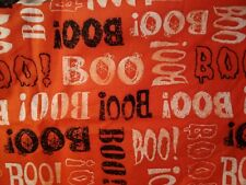 "HALLOWEEN FAT QUARTER  COTTON FABRIC DECOR FQ BLACK  WHITE ORANGE SCARY ""BOO"""