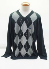 NEW Harbor Bay Black Gray Argyle V-Neck Sweater Size 2XL
