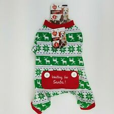 Puppy Dog Green Red White Christmas Winter Pajamas Small Snowflake Reindeer