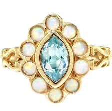 Natural 2.70ct Aquamarine & Opal 9K 9ct 375 Solid Gold Antique Style Ring