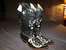 NEW,Corral C2116 Women's Black w/Ivory Lizard Inlay Cowgirl Boots  7.0M & 9.5