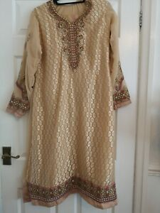 Meera pakistani party eid ready made suit plazzo Size Large embroidery 3 Piece