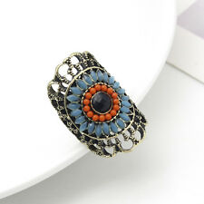 Indian Colorful Flower Ring Ethnic Antique Bronze Eye Crystal Band Women Jewelry