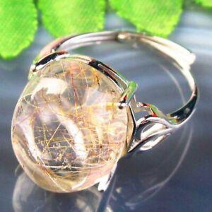 Copper Wrap Natural Gold Rutilated Quartz Oval AdjustablePendant Ring B50639