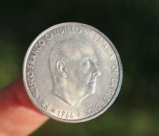Silver Spanish coin 5 pesetas, 1966, Spain