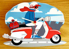 Scooter Wall Clock, SX Scooter Rider Wall Clock, 60s Mod Wall Clock, Scootering