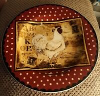1 MINT Sakura Retro Rooster Stoneware Salad Dessert Plate Kim Poloson Chicken