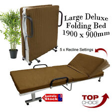 LARGE ADJUSTABLE 1900 x 900mm FOLDING BED 80MM MATTRESS OUTDOOR CAMPING BEDDING