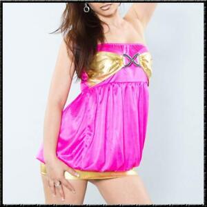 Leicht transparentes Bandeau Kleid-Top Mini Home Dress Sexy Pyjama Pink Gold S