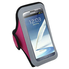 Gym Workout Neoprene Armband Hot Pink for Samsung Galaxy Note Note 2