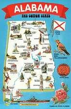 "Alabama, "" The Cotton State "", Montgomery, Birmingham, etc. - State Map Postcard"