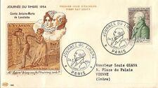 LETTRE PREMIER JOUR JOURNEE DU TIMBRE 1954 COMTE ANTOINE MARIE DE LAVALLETTE