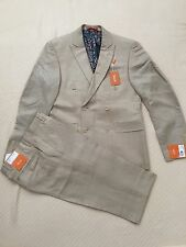 Brand New w Tags Tallia Beige Linen Blend Solid Suit for Men - 38 R