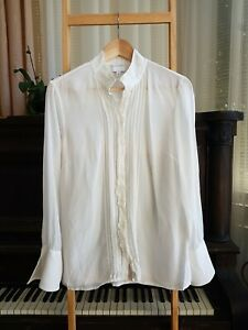 Lovely WITCHERY Cream 100% Silk Pin Tuck Shirt Blouse Size 8 EUC