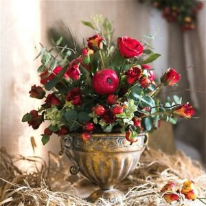 Vintage flower vase old European Nordic style golden iron silver pot luxery home