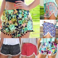UK Women Floral Shorts Stretch High Waist Casual Beach Short Hot Pants Size 6-14
