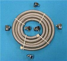 2 FEET  BRAIDED FUEL/OIL LINE FUEL HOSE AND 2 CLAMPS FOR YOUR HARLEY HOT ROD