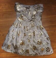 JUICY COUTURE - STRAPLESS GRAY & GOLD METALLIC PARTY DRESS  - MISSES 0