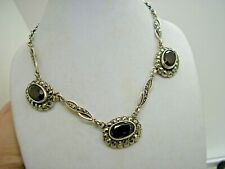 Antique  Silver Marcasite & Real Garnet Swag Necklace & Chain
