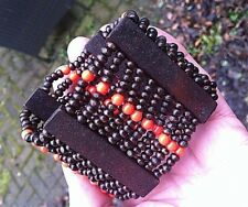 BROWN & RED WOODEN BEAD STRETCH ELASTIC CHUNKY WIDE CUFF HIPPY BOHO BRACELET