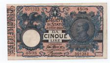 5 LIRE BIGLIETTO DI STATO VITTORIO EMANUELE III /DECR 29  LUGLIO 1918 /SPL+