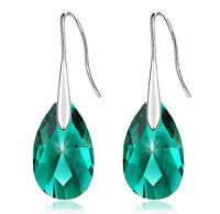 Emerald Crystal Green Almond Teardrop Drop Earrings E833