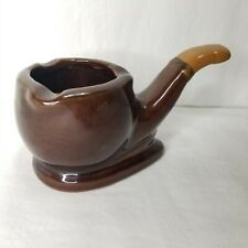 Vintage Ceramic Ashtray Pipe Shaped Japan Bent Style Brown Glaze Tobacciana