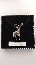 A31 Stag 1 Motif Pewter  PENDENT ON A  BLACK CORD  Necklace Handmade