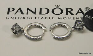 AUTHENTIC PANDORA EARRINGS SQUARE SPARKLE HOOPS #298503C01 HINGE BOX