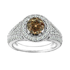 2 ct LADIES White and Brown Diamond Ring white gold 14k Best Gift