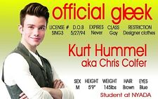 GLEE tv series KURT plastic collector card Drivers License