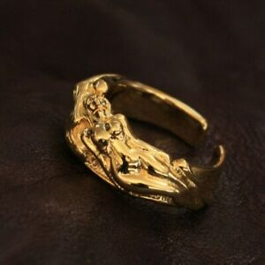 Gold Plated Brass Sexy Naked Beauty Skull Ring Mens Punk Ring GP185A US 7~15