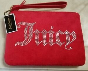 NWT Juicy Couture Black Label Red Wristlet Purse Wallet Silver Embellishments FS