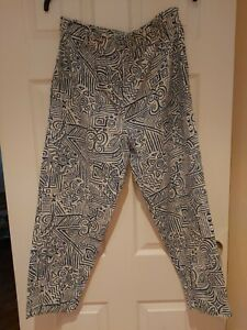 Vintage Dorothy Perkins Trousers Blue White Patterned Size 14 Short Leg Length