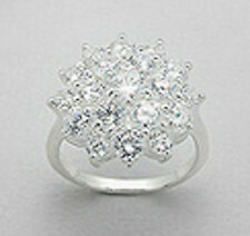 19mm Wide Solid Sterling Silver Sparkling Flower Statement Ring sz 6.5