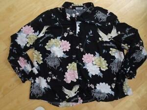 SIMPLY BE ladies black floral long sleeve shirt top UK 26 PLUS SIZE EXCELLENT