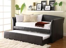Homelegance Meyer Dark Brown Leather Twin Daybed with Roll-out Trundle