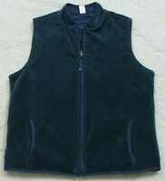 Charter Club Blue Sleeveless Solid Velour Woman's Zip Up Lined Vest Jacket Coat
