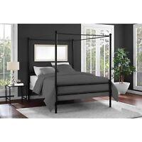 Mainstays Metal Canopy Bed Frame Platform Queen Size Black Slats Bedroom Modern