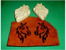"""Tribal Horses Pair Leather Emboss Plates  2 5/8"""" x 1 3/4"""" Each"""