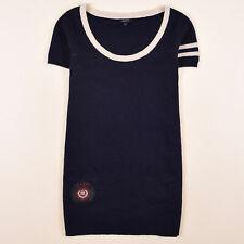 Gant Damen Tunika Shirt Bluse Top Gr.M (DE38) Strick Lamm Wolle Kleid Blau 83677